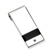 Stainless Steel Black Rubber and CZ Money Clip