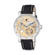 Mens Charles Hubert Leather Band Gold-tone Skeleton Dial Watch ring