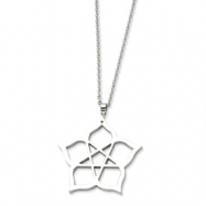 Stainless Steel Fancy Polished Flower 22in Necklace chain