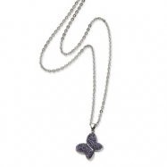 Stainless Steel Purple Crystal Buterfly Pendant 22in Necklace chain