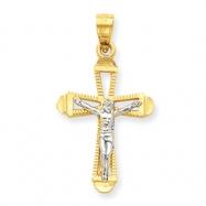 10k & Rhodium Crucifix Pendant