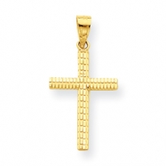 10k Diamond-Cut Cross Charm