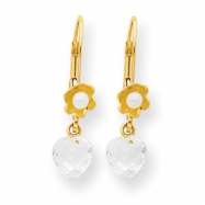 14k Flower CZ/Freshwater Cultured Pearl Leverback Earrings