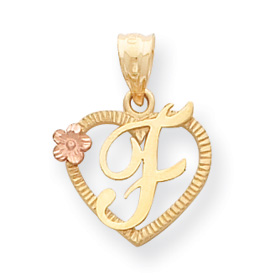 14k Two-Tone Initial F in Heart Charm