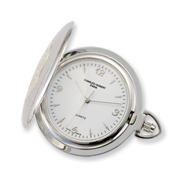 Charles Hubert 14k Gold-plated Chrome White Dial Pocket Watch