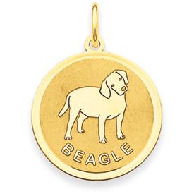 14k Beagle Disc Charm