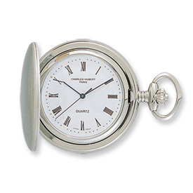 Charles Hubert Satin Chrome-finish Off White Dial Pocket Watch