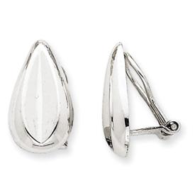 14k White Gold Polished Non-pierced Teardrop Omega Back Earrings