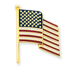 14k Enameled Flag Pin Charm