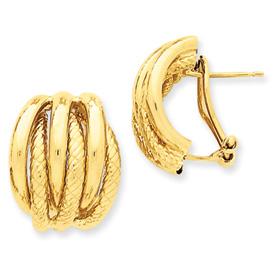 14k Polished & Textured Fancy Omega Back Post Earrings