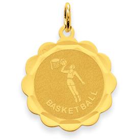 14k Basketball Disc Charm