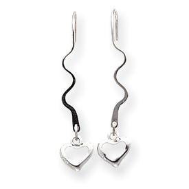 14k White Gold Swirl Wire with Heart Dangle Wire Earrings