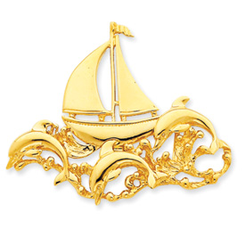 14k Polished Fits up to 6mm & 8mm Sailboat & Dolphin Slide
