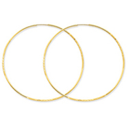 14K Gold 1.25x57mm Diamond Cut Endless Hoop Earring