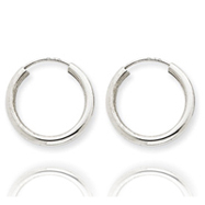 14K White Gold 2x17mm Polished Endless Hoop Earrings