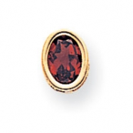 14k 7x5mm Oval Garnet bezel pendant