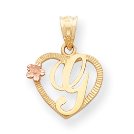 14k Two-Tone Initial G in Heart Charm