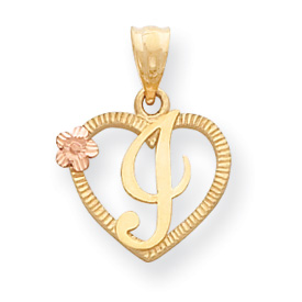 14k Two-Tone Initial I in Heart Charm