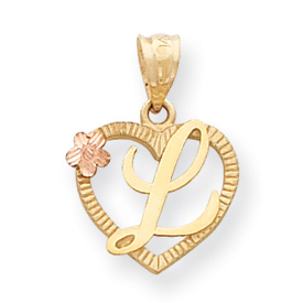 14k Two-Tone Initial L in Heart Charm