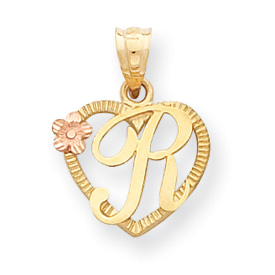 14k Two-Tone Initial R in Heart Charm