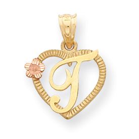 14k Two-Tone Initial T in Heart Charm