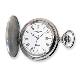 Charles Hubert Stainless Steel White Dial with Date Pocket Watch