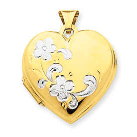 14k & Rhodium Floral Heart Locket