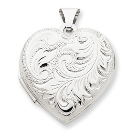 14k White Gold Domed Heart Locket