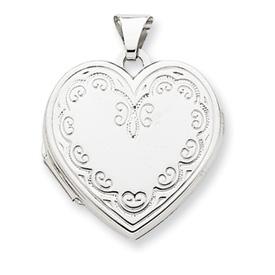 14k White Gold Heart Locket