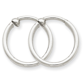 14k White Gold Non-pierced Hoop Earrings