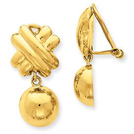 14k Non-pierced Fancy Ball Earrings