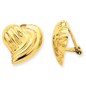 14k Non-pierced Heart Earrings
