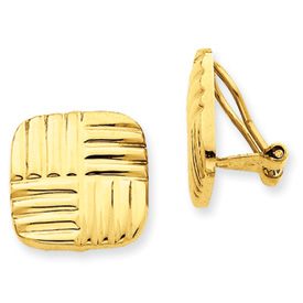 14k Non-pierced Basket weave Earrings
