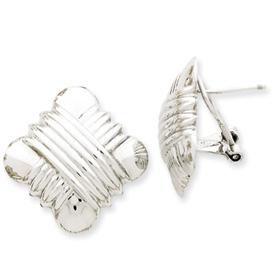 14k White Gold Polished Non-Pierced Fancy Omega Back Earrings