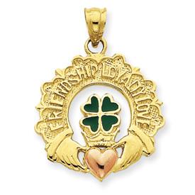 14k Enameled Claddagh Charm
