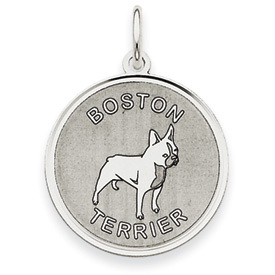 14k White Gold Polished Engraveable Boston Terrier Disc Charm