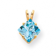 14k 7mm Princess Cut Blue Topaz pendant