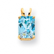 14k 8x6mm Emerald Cut Blue Topaz pendant