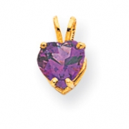14k 7mm Heart Amethyst pendant