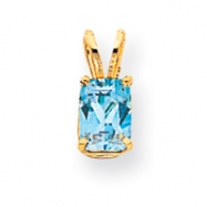 14k 7x5mm Emerald Cut Blue Topaz pendant