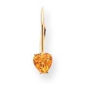 14k 5mm Heart Citrine earring