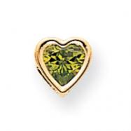 14k 6mm Heart Peridot Bezel Pendant