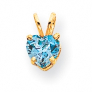 14k 6mm Heart Blue Topaz pendant