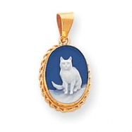 14k 11x15mm Porcelain Cat Cameo Pendant