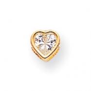 14k 5mm Heart Cubic Zirconia bezel pendant