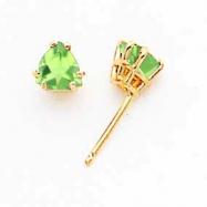 14k 5mm Trillion Peridot earring