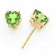 14k 6mm Heart Peridot earring