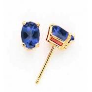 14k 6x4mm Oval Sapphire earring