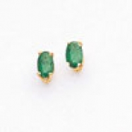 14k 6x4mm Oval Emerald earring