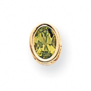 14k 7x5mm Oval Peridot bezel pendant